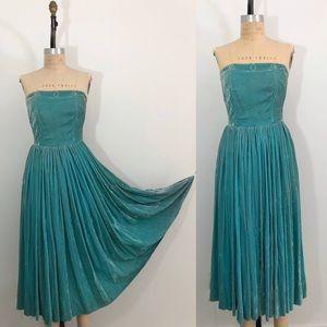 Rare Vintage 1950's Turquoise Silk Velvet Dress
